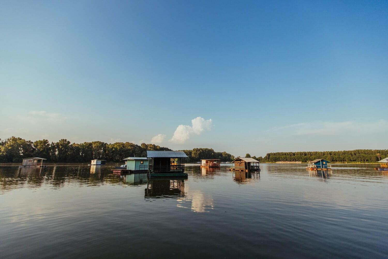 Häuser, am See, Bootshaus, Wasserstand, schwimmende, Gebäude, Wasser, See, Schuppen, Reflexion