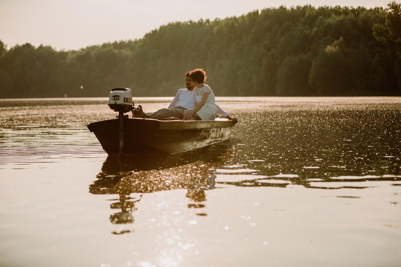 csónak, romantikus, barátja, barátnő, romantikus randevú, tó, víz, emberek, folyó, naplemente