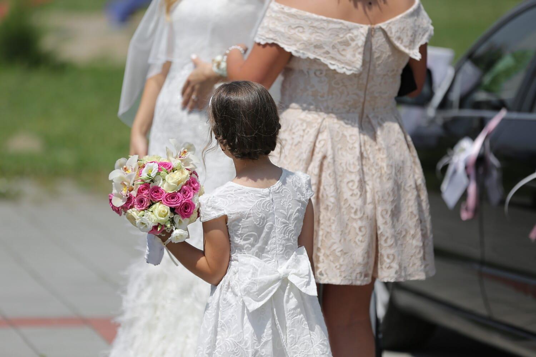 Mädchen, untergeordnete, Hochzeitsstrauß, Zeremonie, Hochzeit, Kleid, Blumenstrauß, im freien, Mode, Menschen