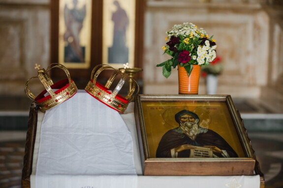 saint, icon, crown, interior, monastery, church, religion, art, indoors, gold