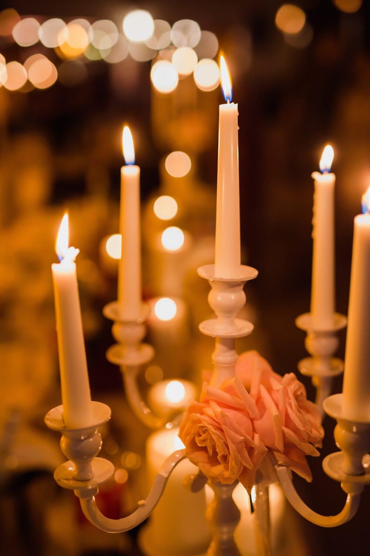 chandelier, bougies, bougie, flamme, Noël, aux chandelles, lumière, illuminé, célébration, sombre
