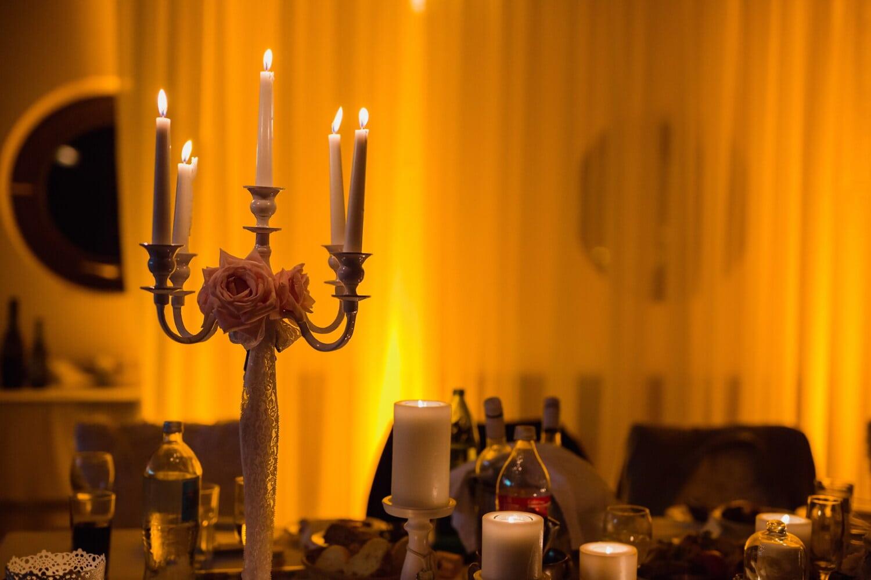 bougies, atmosphère, confortable, salle à manger, table à dîner, bougie, chandelier, aux chandelles, flamme, lumière