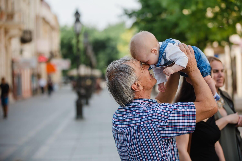 Enkel, Großvater, Familie, Familie, Kleinkind, Baby, untergeordnete, glücklich, übergeordnete, Sohn