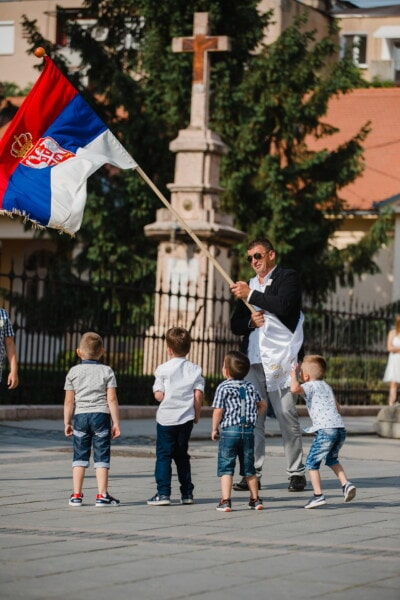 man, flag, Serbia, pride, street, children, ceremony, people, child, city