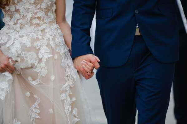 bride, groom, holding, hands, woman, love, wedding, fashion, romance, girl