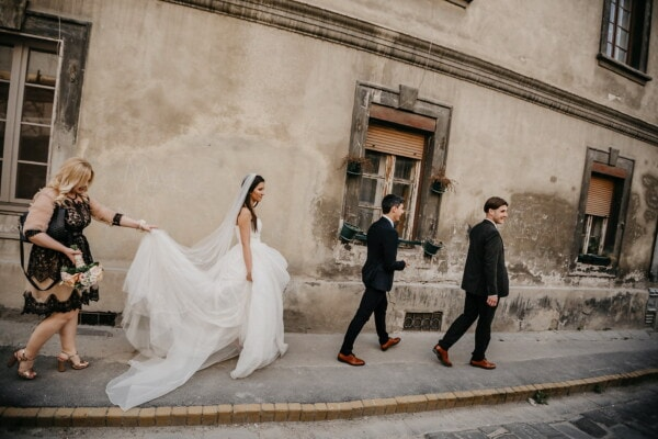 bride, godfather, groom, street, friends, architectural style, walking, walkway, friendship, wedding