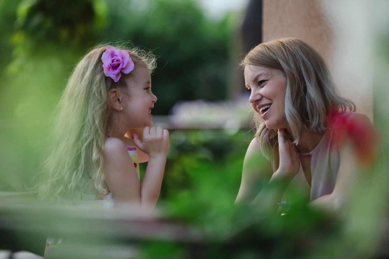 Mutterschaft, Mutter, Tochter, untergeordnete, heiter, Genuss, Liebe, Familie, Porträt, Lächeln
