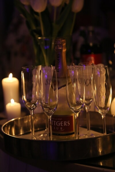 champagne, holiday, new year, crystal, candlelight, party, candles, evening, fancy, elegant
