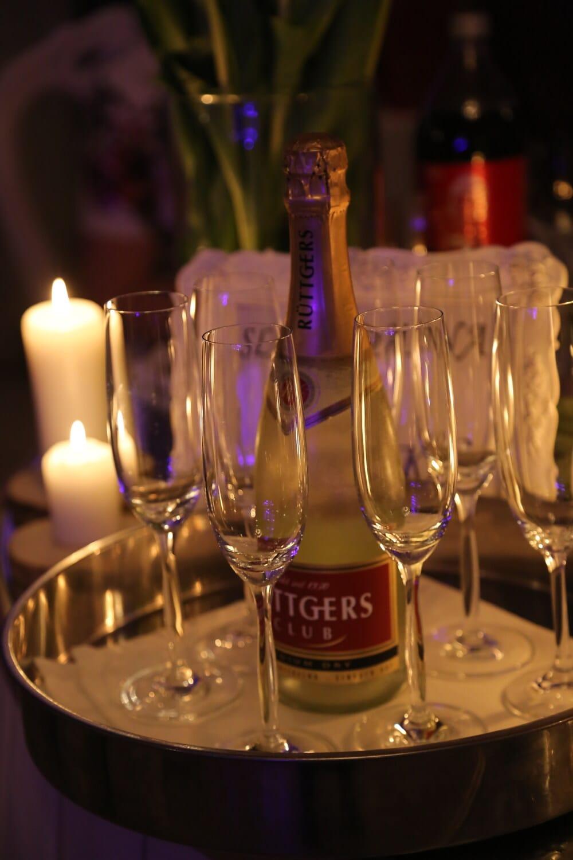 célébration, bouteilles, champagne, romantique, période de vacances, nouvel an, à manger, verre, boisson, parti