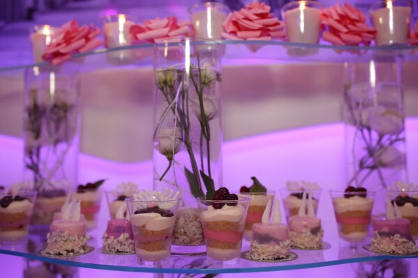 cream, dessert, decoration, romantic, candle, glass, indoors, interior design, reception, luxury