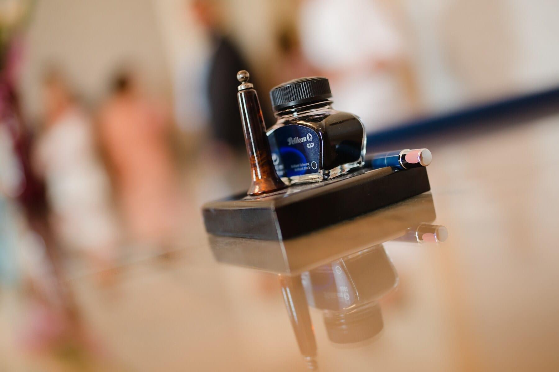 Blau, Tinte, Tabelle, Bleistift, Büro, Schreibtisch, drinnen, verwischen, Holz, elegant
