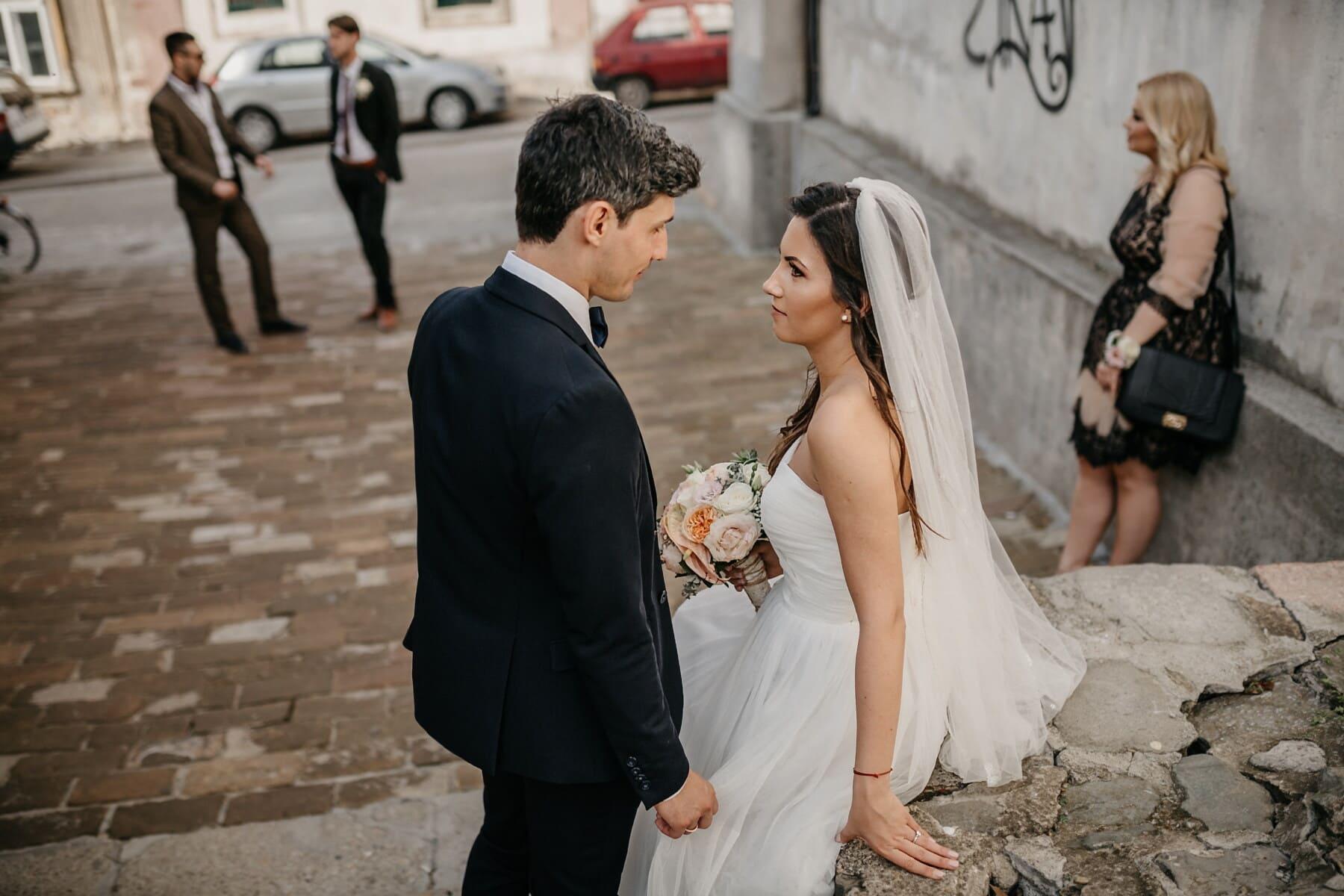 la mariée, jeune marié, amis, parrain, couple, homme, mariage, femme, amour, mode