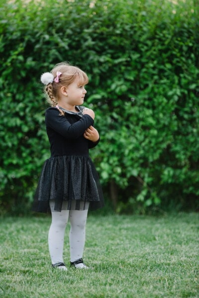 girl, blonde, child, young, dress, black, fashion, blond, park, grass