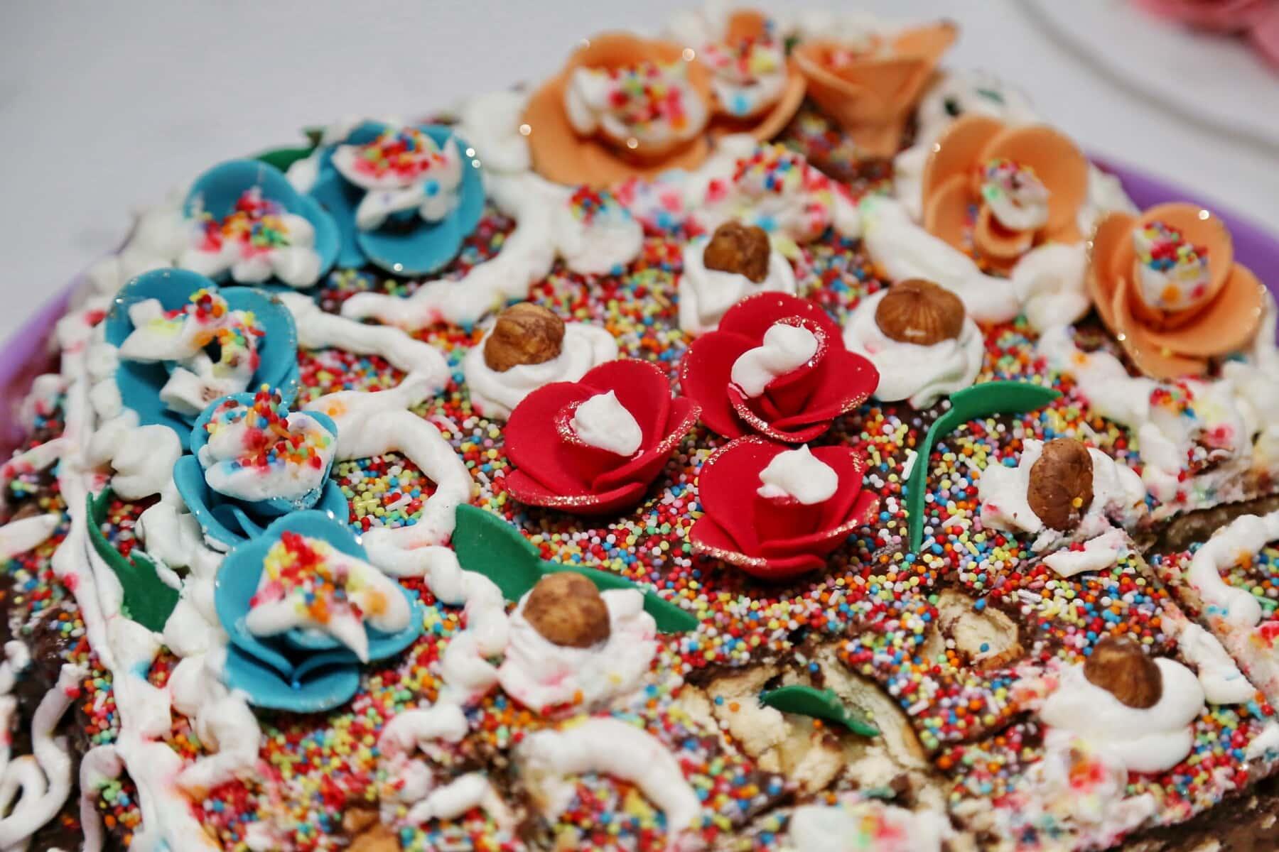noisette, gâteau, coloré, chocolat, célébration, sucre, snack, bonbons, repas, doux