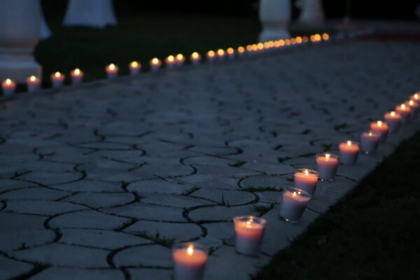 walkway, evening, candlelight, pavement, candles, flame, candle, celebration, light, dark
