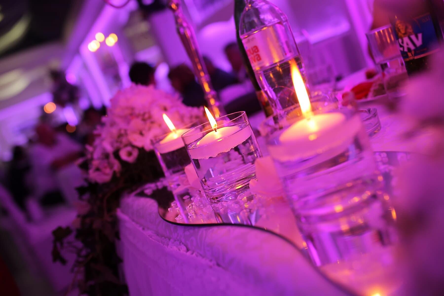 light, romantic, purplish, table, candles, close-up, candlelight, party, candle, celebration