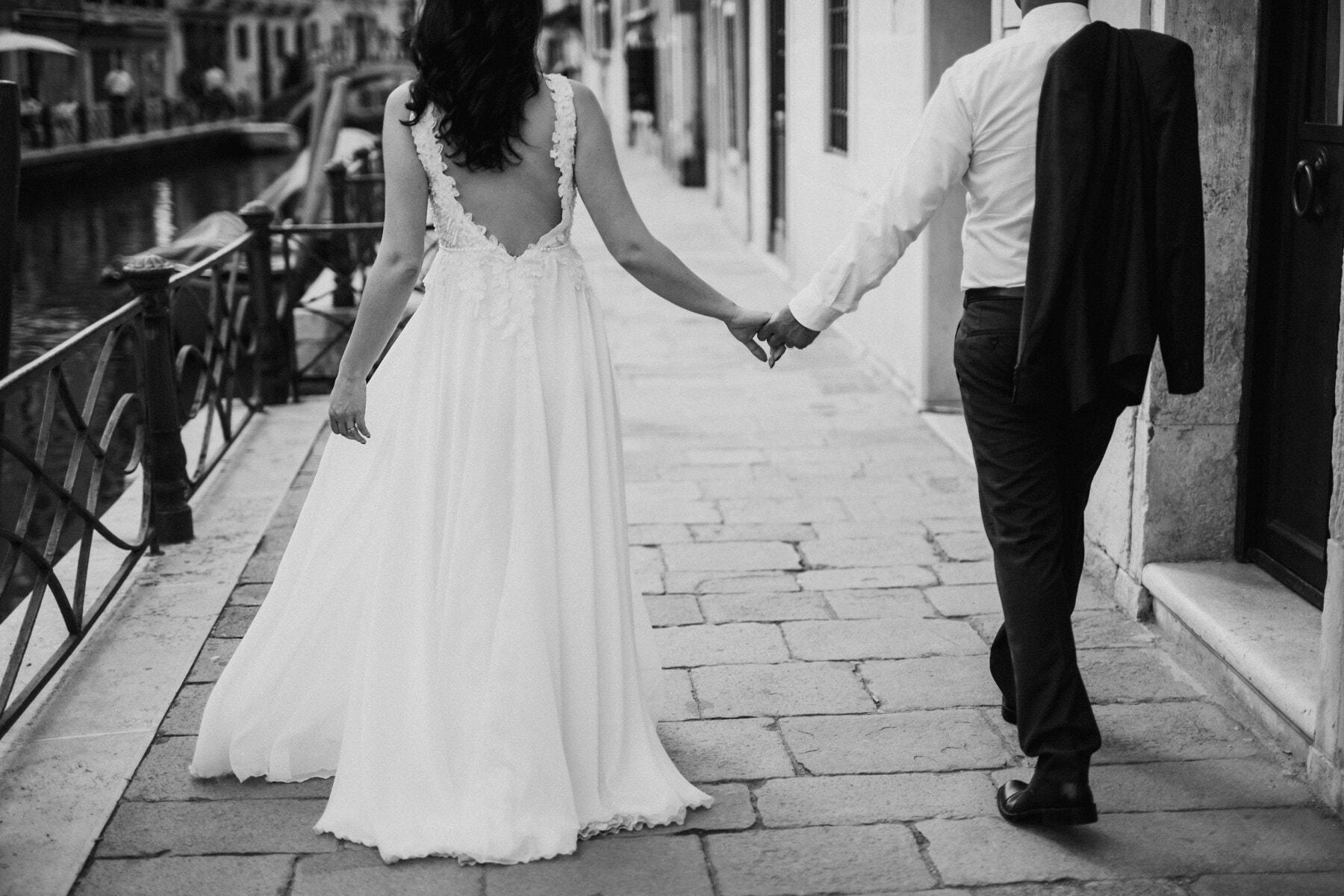 Italie, rue, noir et blanc, jeune marié, marié, gens, amour, la mariée, mariage, mariage