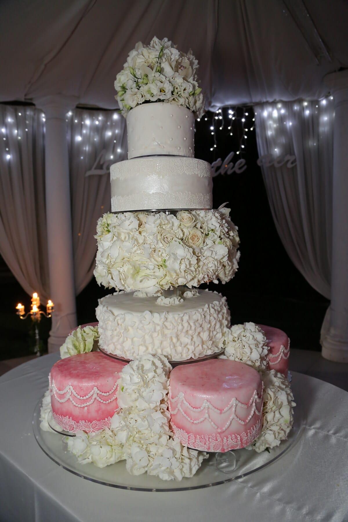 Hochzeitstorte, Groß, Hochzeitsort, Hotel, Eleganz, Dekoration, Hochzeit, Blume, Liebe, Zeremonie