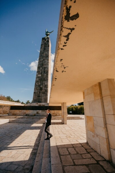 walking, steps, man, obelisk, tower, architectural style, socialism, building, column, structure