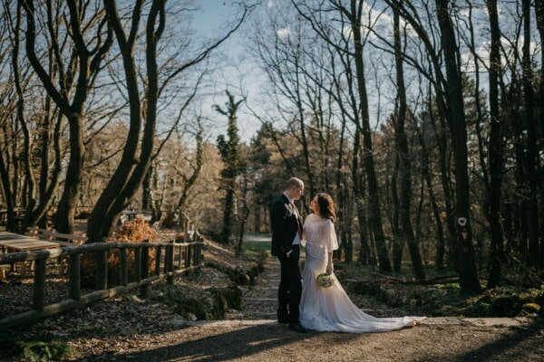 romance, groom, bride, forest, shadow, sunny, autumn season, girl, wedding, couple