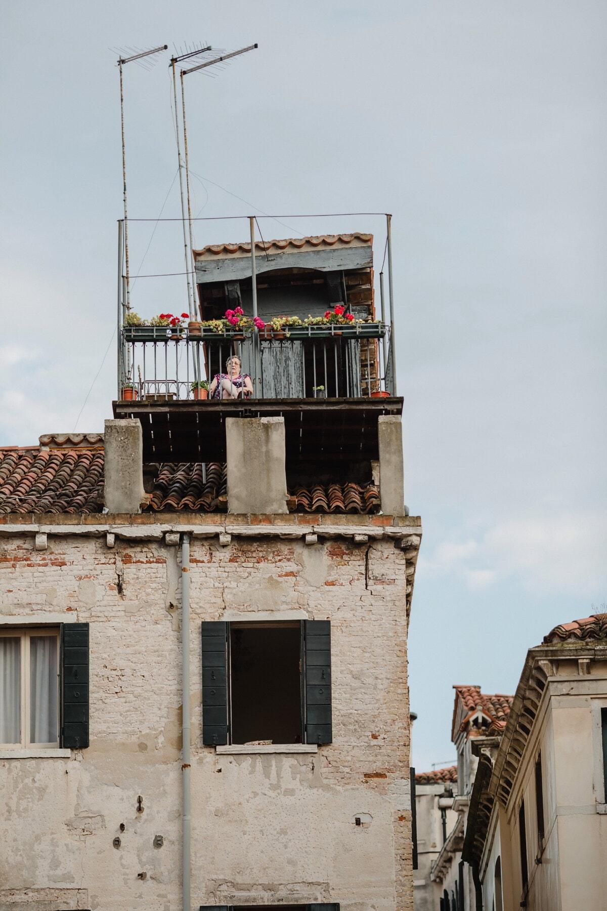 vieux, maison, toit, sur le toit, Ruin, jardin, femme, façade, bâtiment, architecture