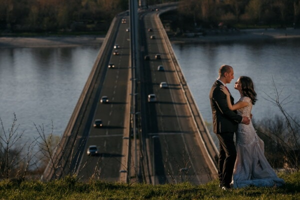 romantic, groom, bride, outdoor, bridge, river, water, people, girl, woman