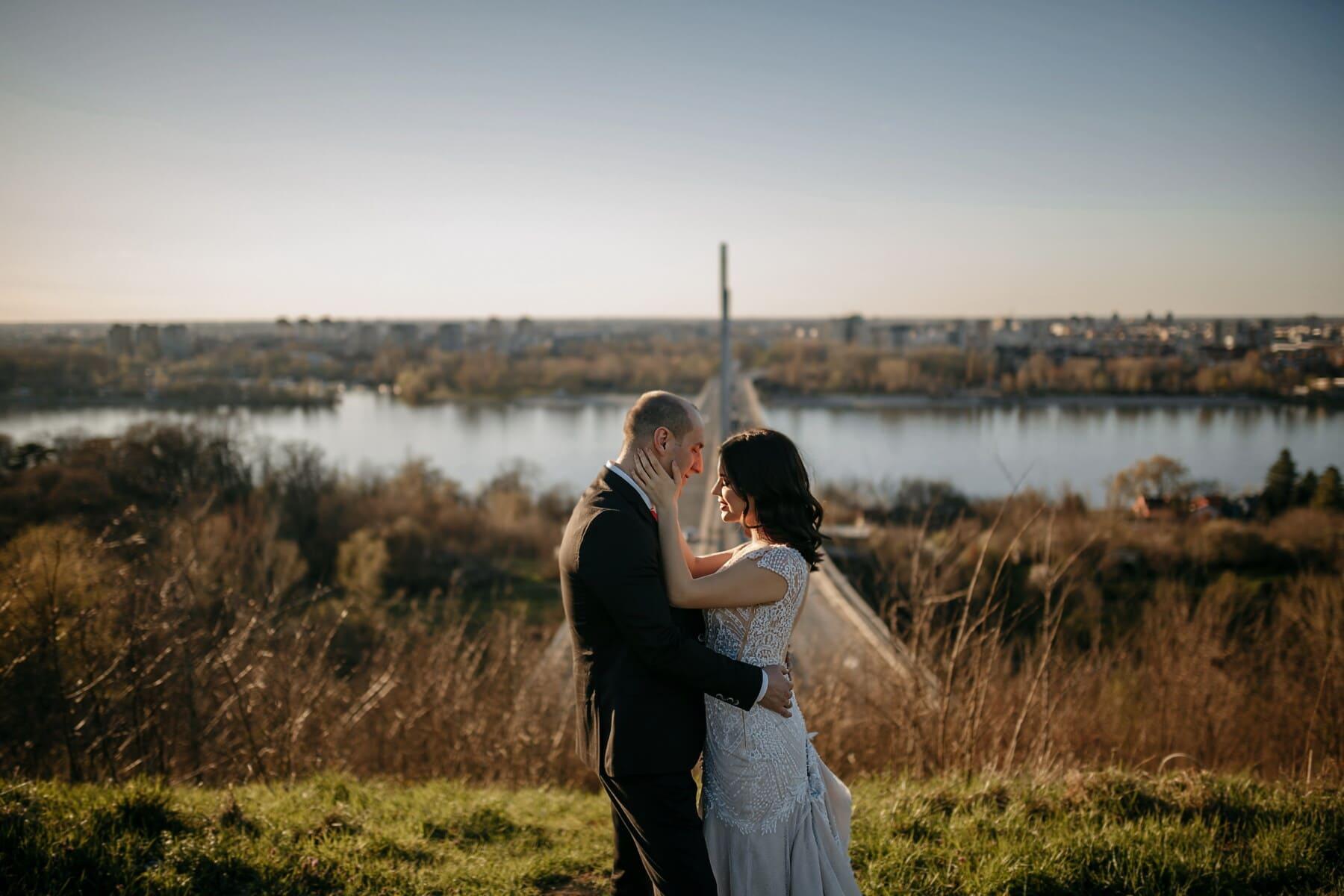 love date, love, hugging, boyfriend, girlfriend, river, outdoor, nature, girl, grass