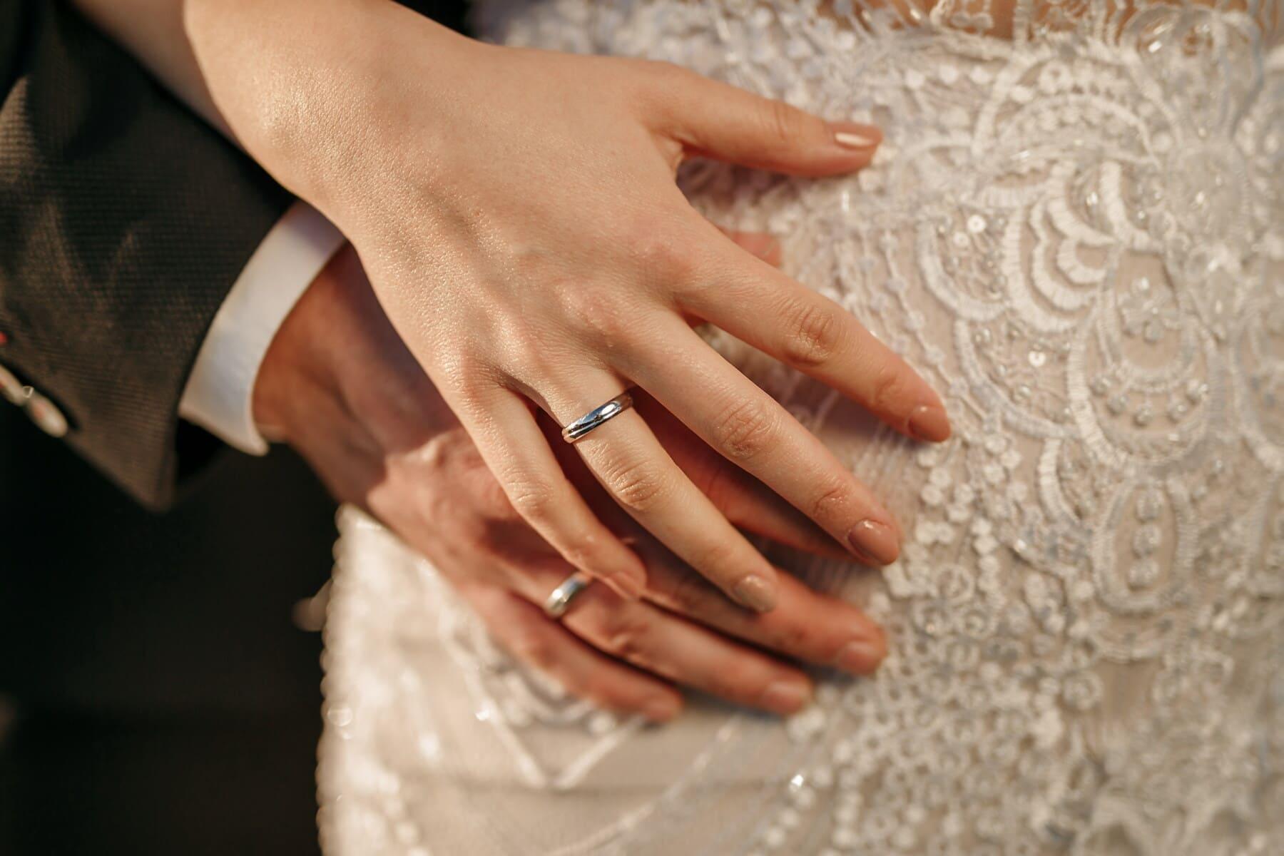 bague de mariage, bijoux, main dans la main, anneaux, mains, doigt, main, mariage, corps, peau