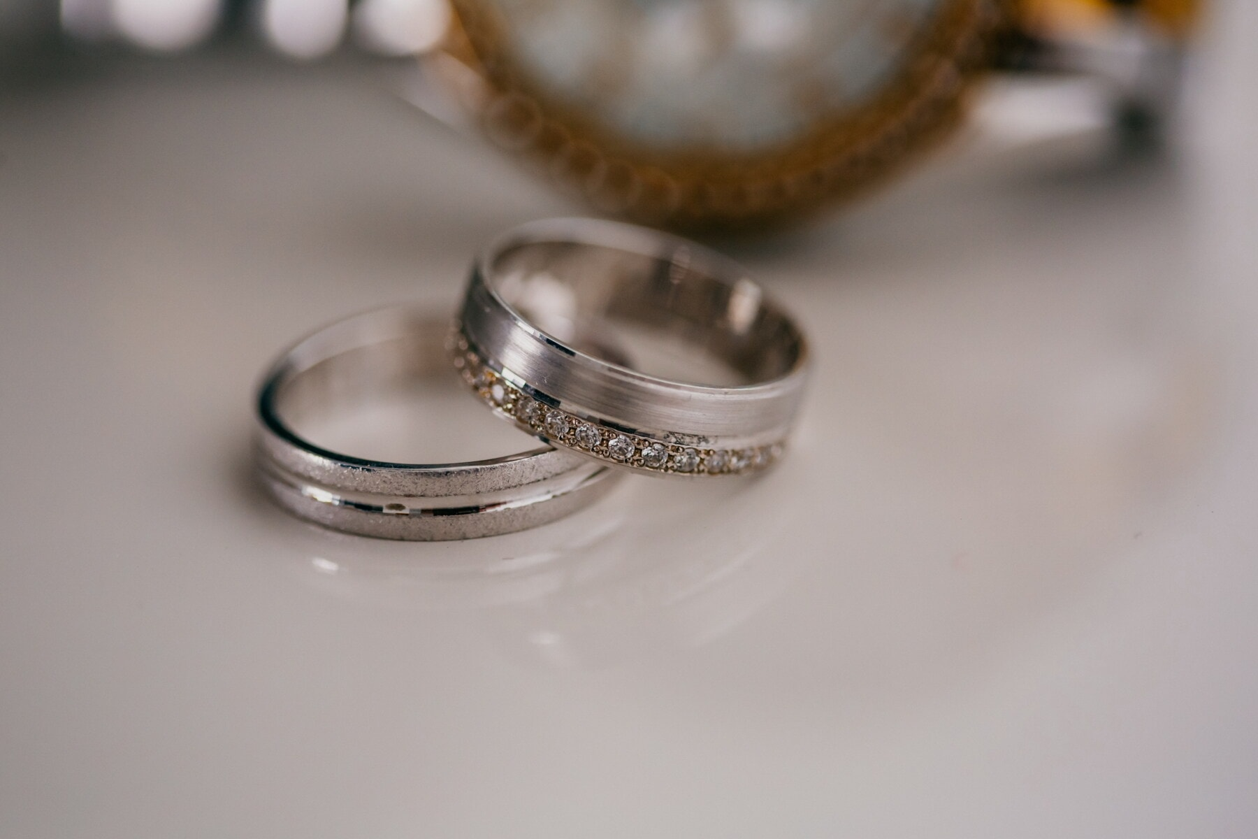 Platin, Ringe, aus nächster Nähe, Juwel, Schmuck, Armband, Luxus, Ehering, Still-Leben, verwischen