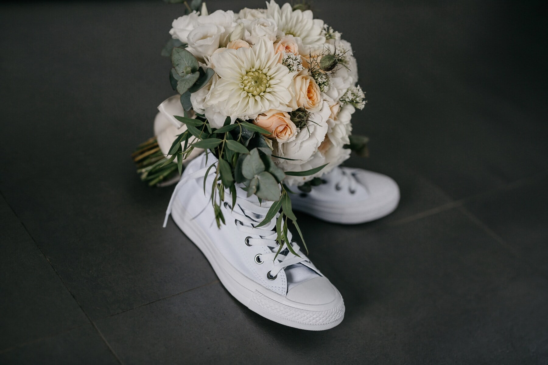 sneakers, white, footwear, elegant, bouquet, fashion, gifts, rose, flower, still life