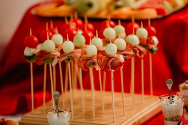 snack, sticks, appetizer, olive, ham, food, delicious, celebration, party, indoors