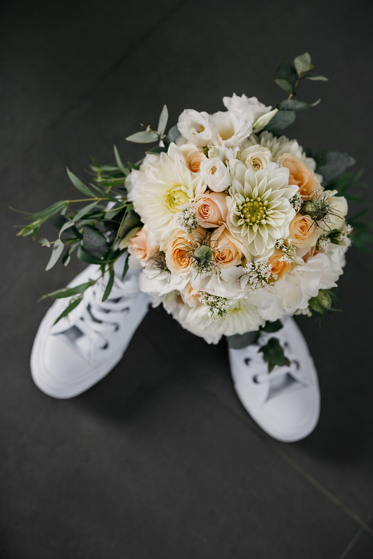 bouquet, footwear, white, sneakers, gift, romance, decoration, rose, flower, love