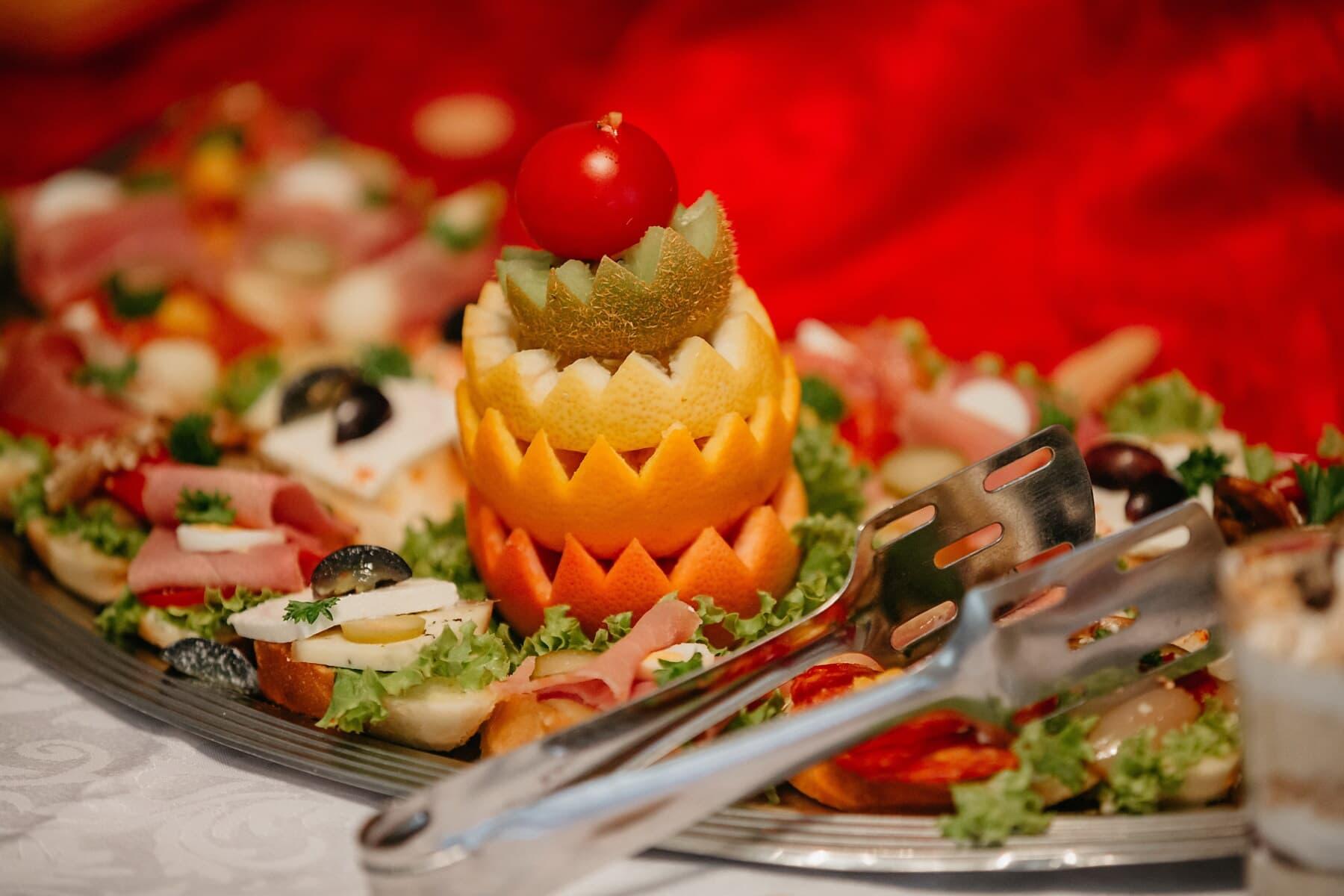 snack, voorgerecht, salade, ontbijtbuffet, garnituur, Kiwi, sinaasappelen, plaat, diner, lunch