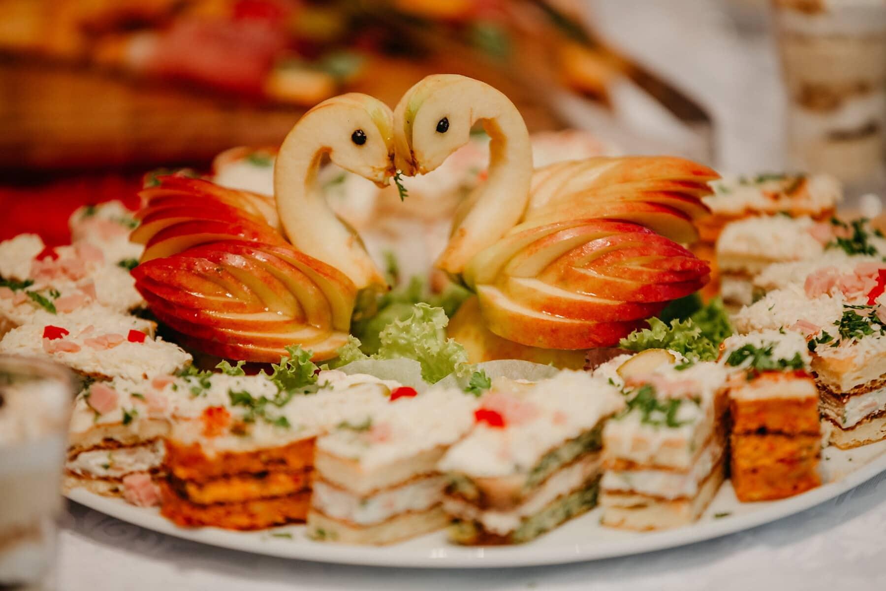 pommes, cygne, décoration, dessert, alimentaire, cuisine, biscuits, buffet, dîner, délicieux