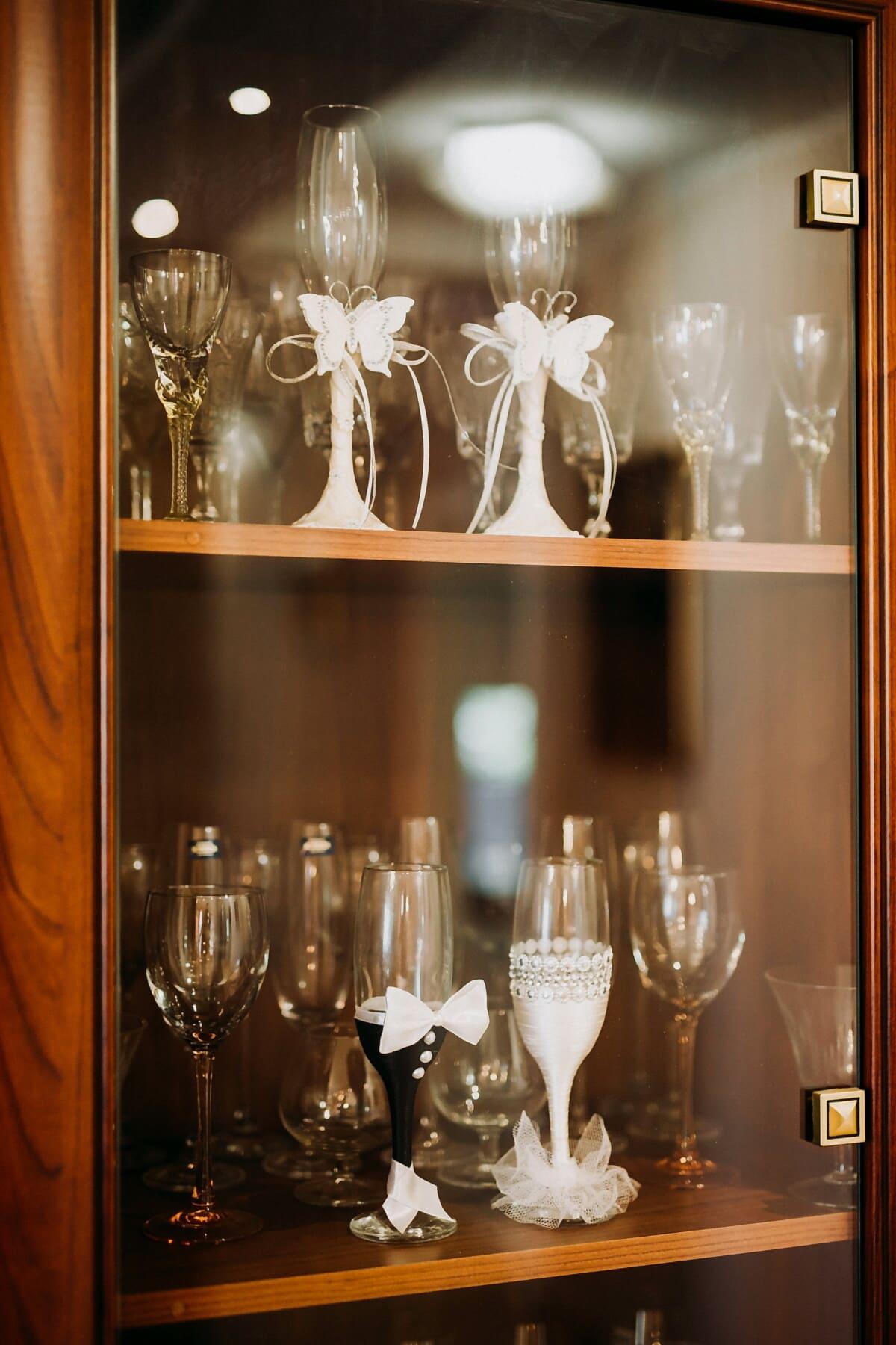 Kristall, Glaswaren, Regal, Möbel, Feier, Glas, Luxus, Interieur-design, drinnen, elegant