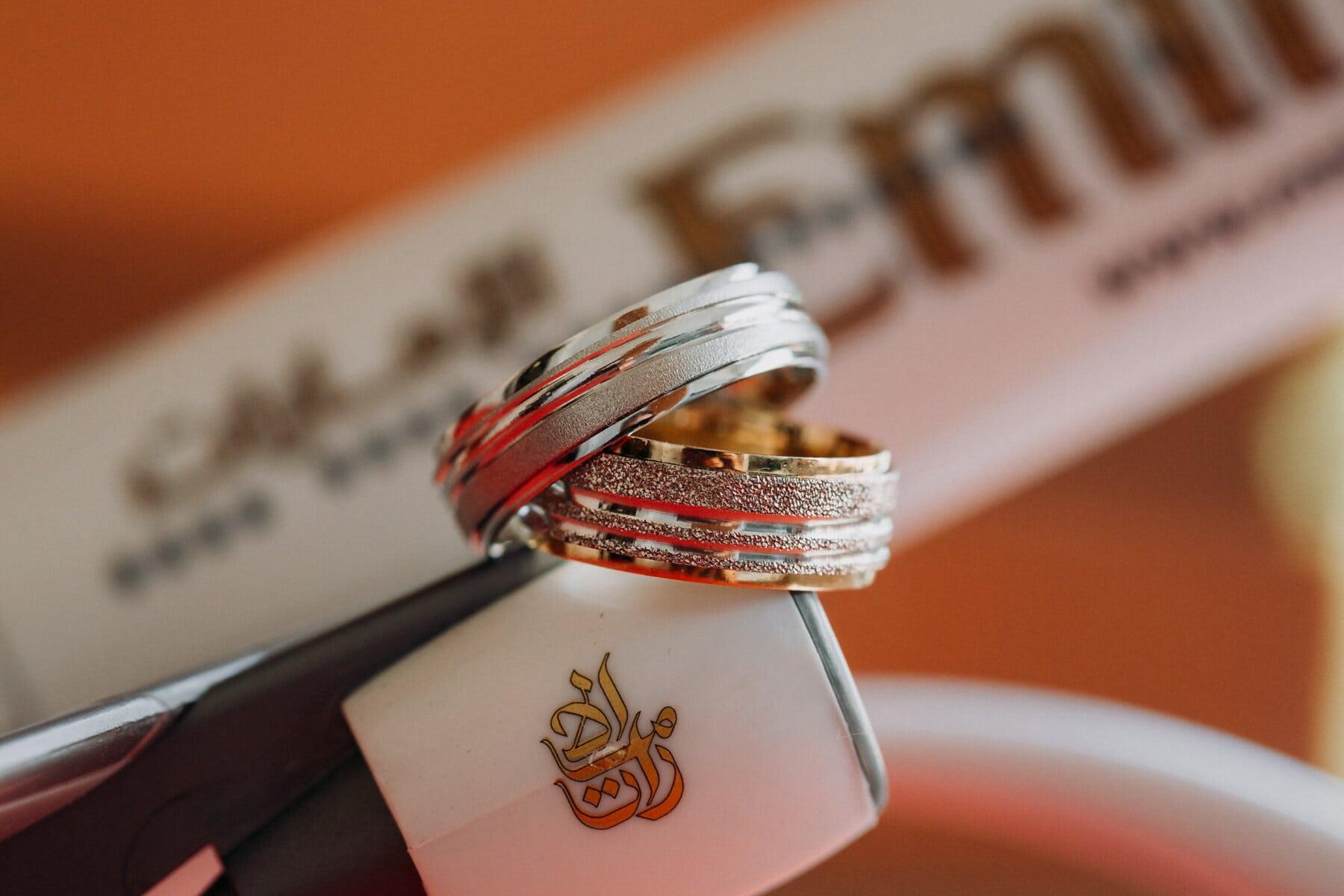Silber, Ringe, goldener Glanz, Gold, Flugzeug, Miniatur, Detail, Flugmotor, Liebe, verwischen