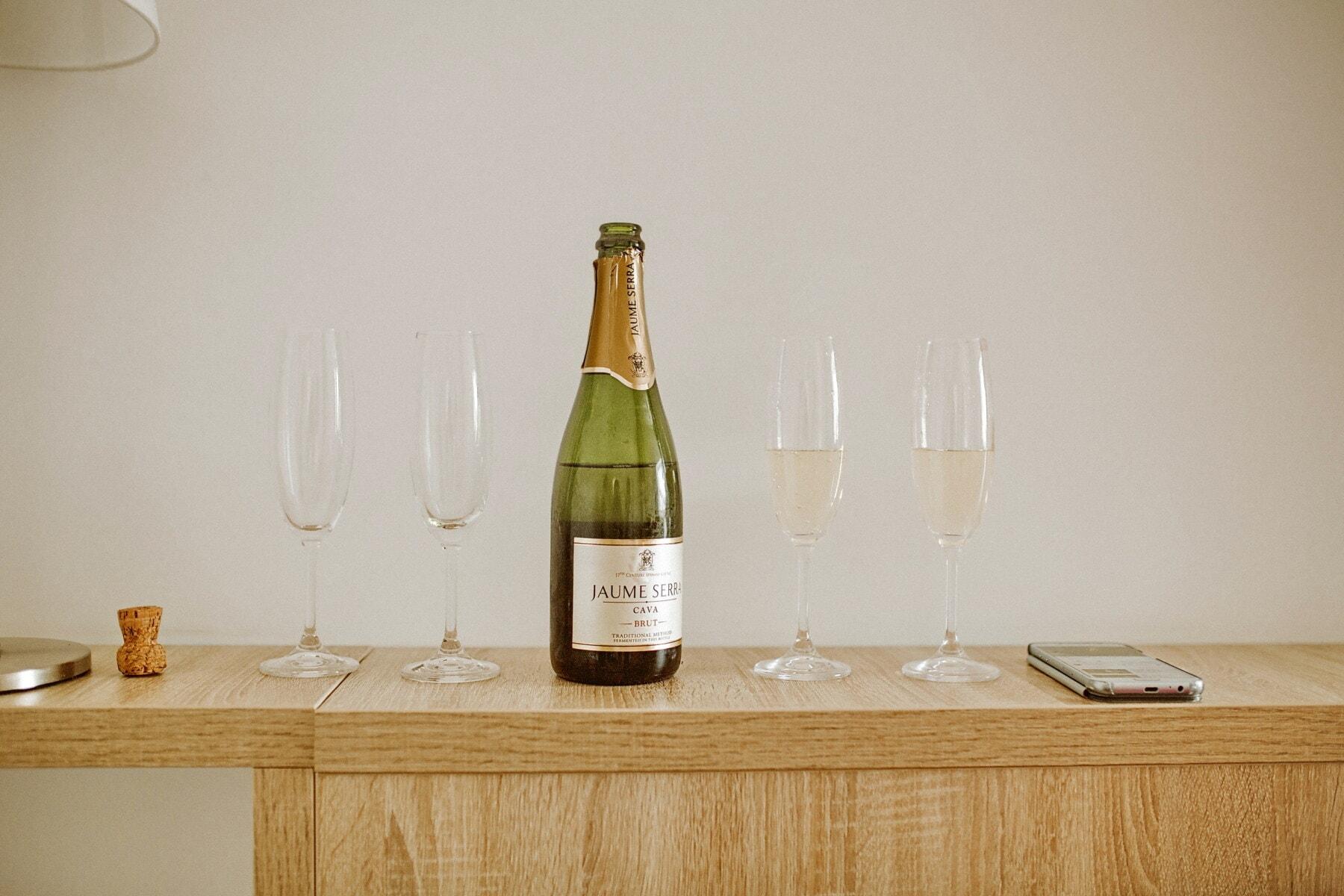champagner, Weißwein, Flasche, Glaswaren, Mobiltelefon, Schreibtisch, Büro, Wein, Alkohol, Trinken
