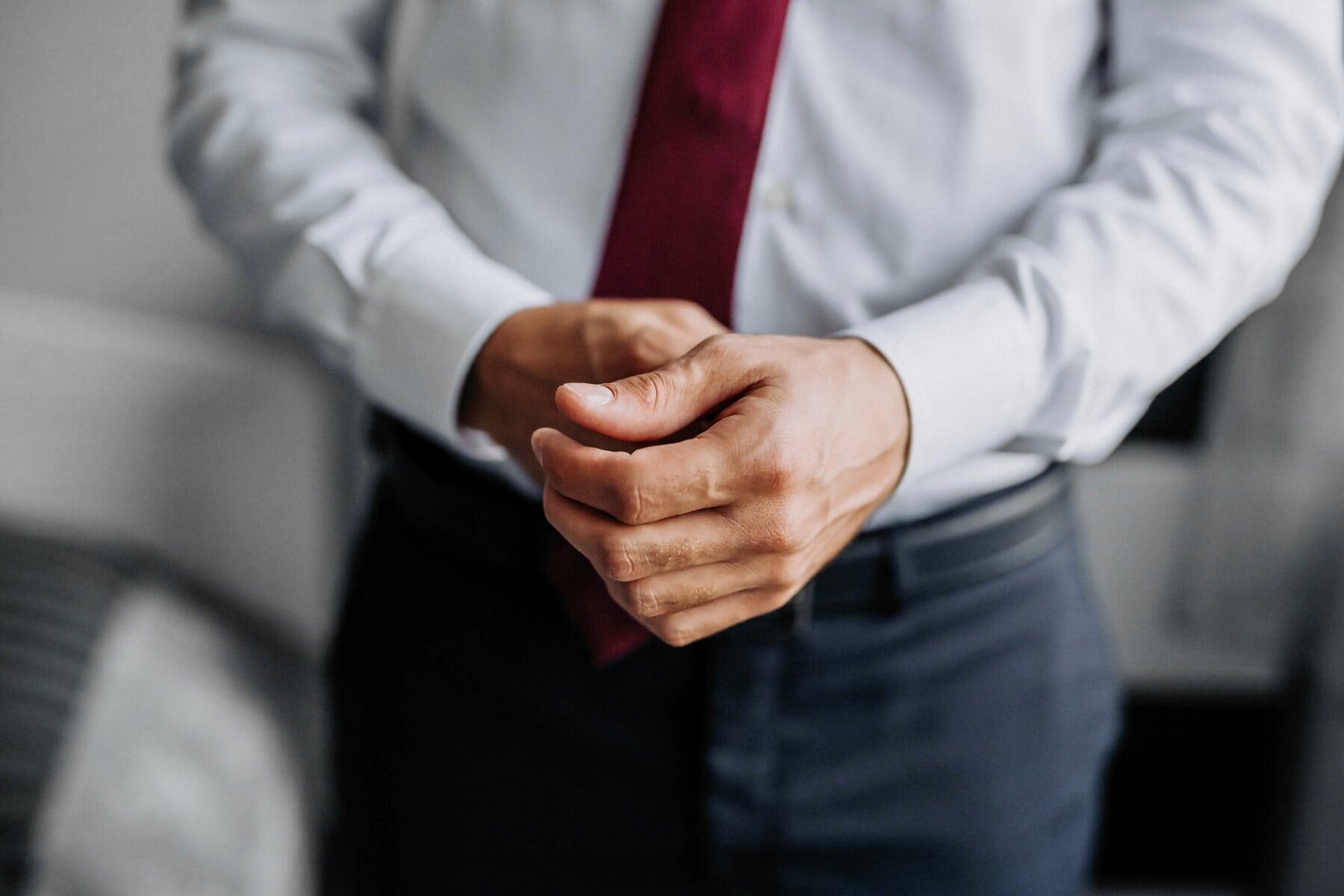 hezký, ruka, košile, prst, podnikatel, smoking oblek, kravata, kalhoty, muž, obchodní