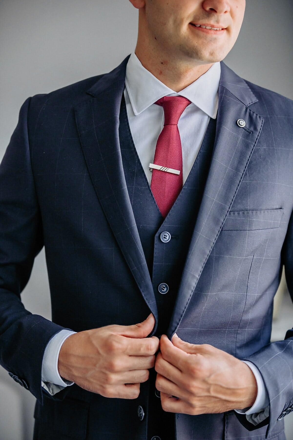 rot, Krawatte, Baumwolle, Smokinganzug, Shirt, Büro, Geschäftsmann, Mitarbeiter, Manager, Unternehmer