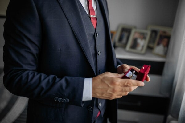 wedding ring, classic, outfit, gift, man, red, tuxedo suit, tie, businessman, suit