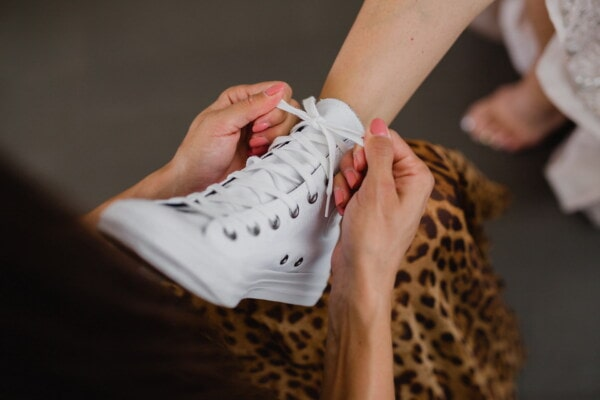 white, sneakers, shoelace, women, legs, hands, woman, people, foot, fashion