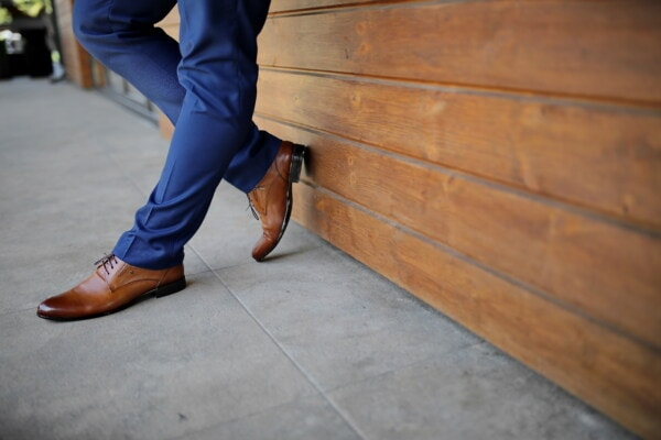 standing, man, light brown, leather, shoes, blue, pants, classic, outfit, wood