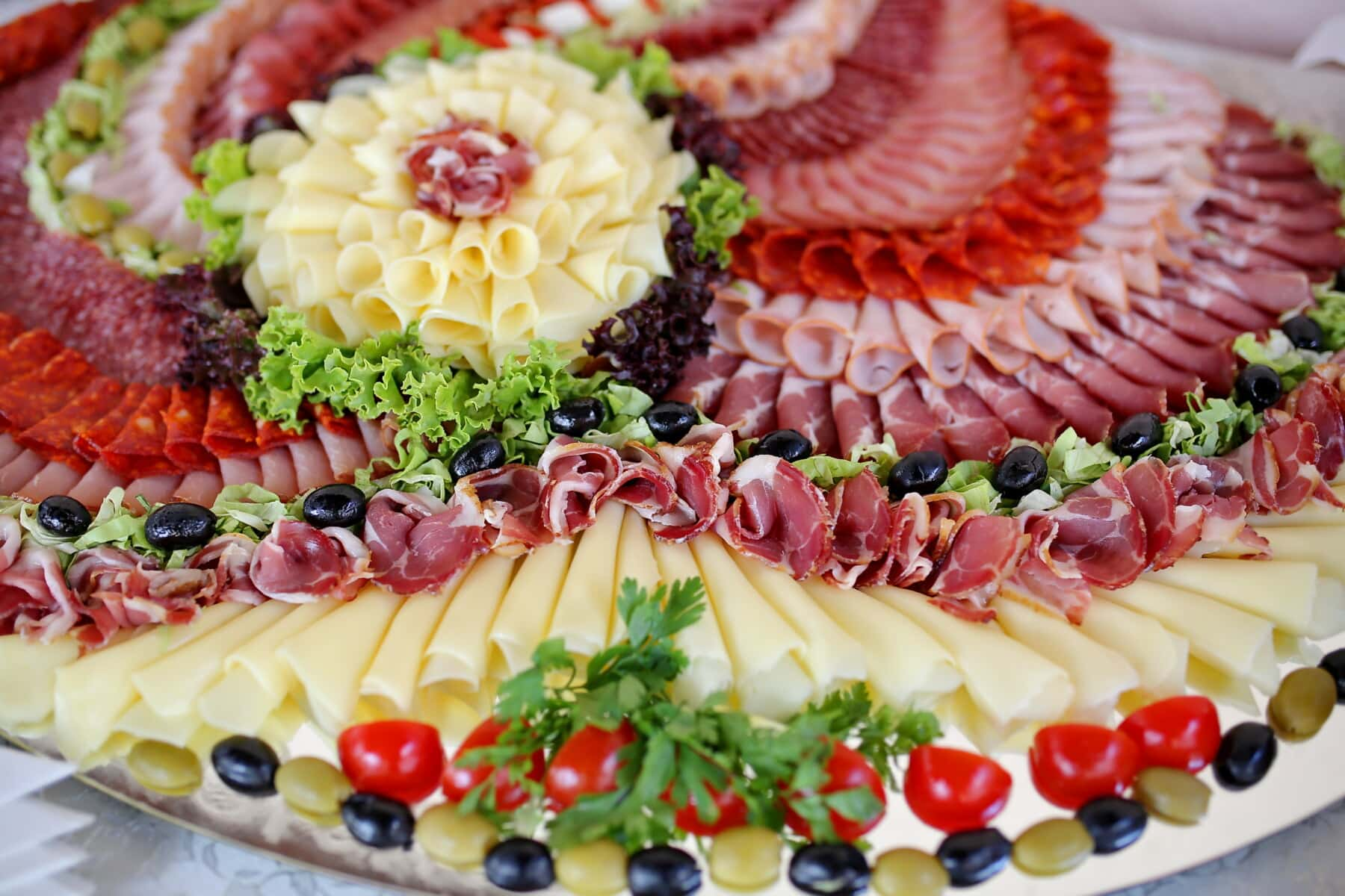 lettuce, ham, salami, olive, snack, cheese, appetizer, delicious, salad, healthy