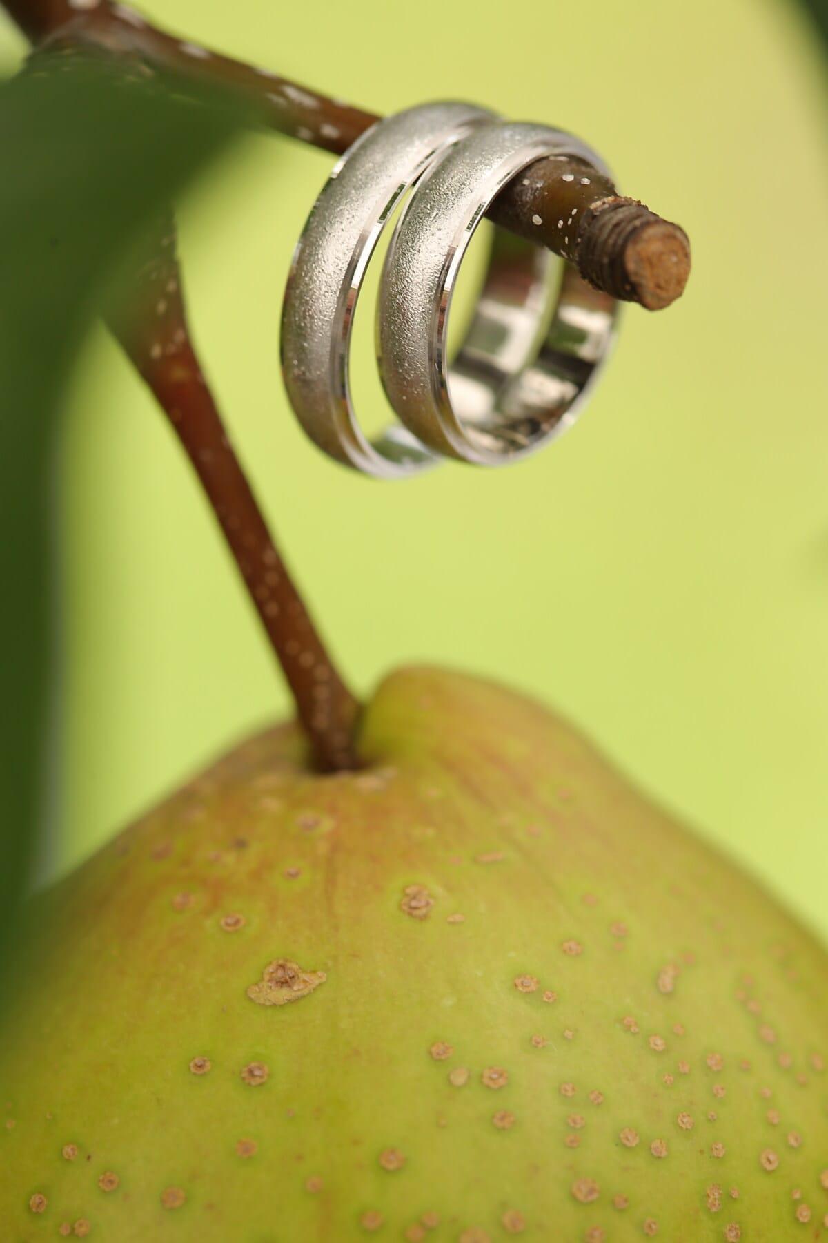 Schmuck, Ringe, Gold, Birne, hängende, Zweig, Obstbaum, Struktur, Obst, süß