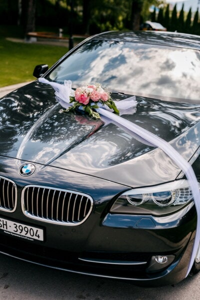 BMW, wedding car, sedan, decoration, windshield, sports car, vehicle, transportation, automotive, automobile