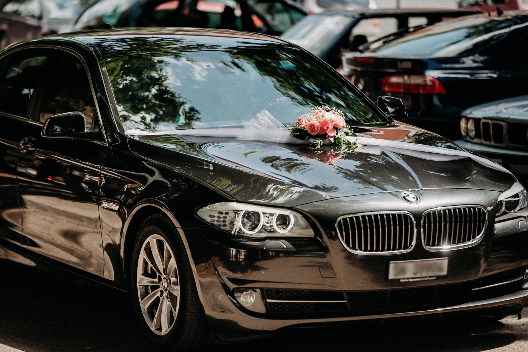 vjenčanje, crno, BMW, sportski auto, luksuzno, limuzina, parkiralište, parkiralište, automobil, automobili, klasično