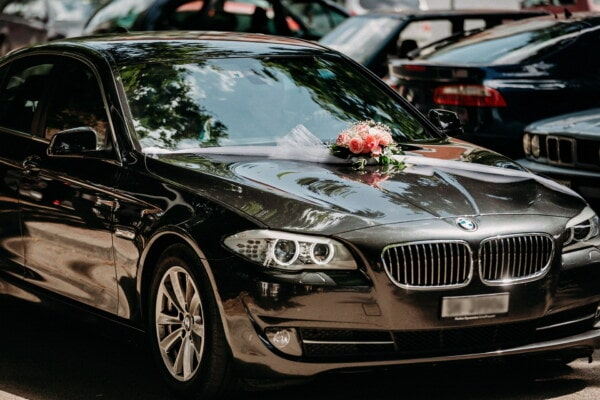 wedding car, BMW, black, sports car, luxury, sedan, parking lot, parking, automobile, automotive, classic