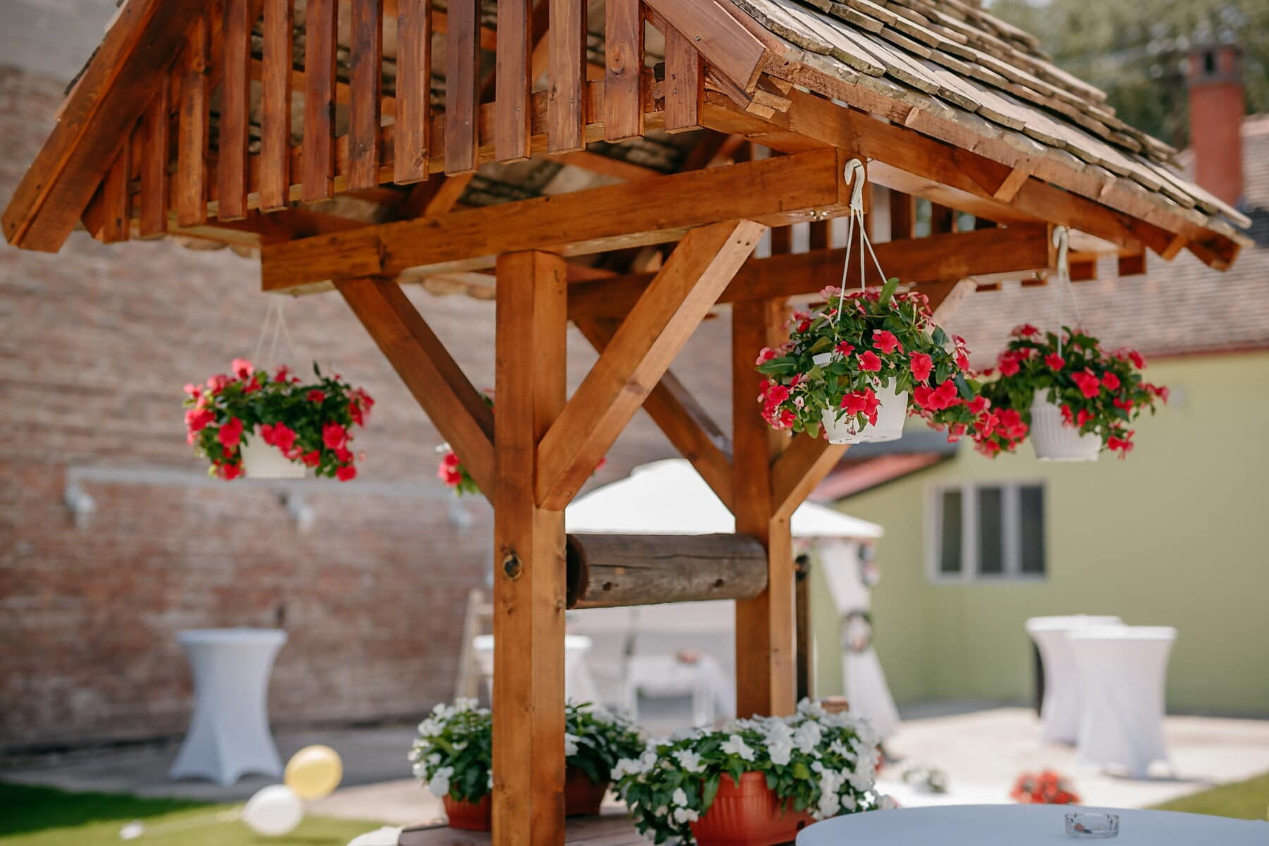 decoration, backyard, flowerpot, hanging, structure, wood, patio, area, house, architecture