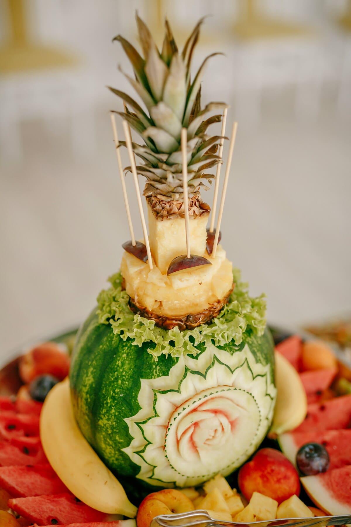 Wassermelone, Schnitzen, Ananas, Dekoration, Obst, Zitrus, Banane, Pfirsich, Essen, sehr lecker