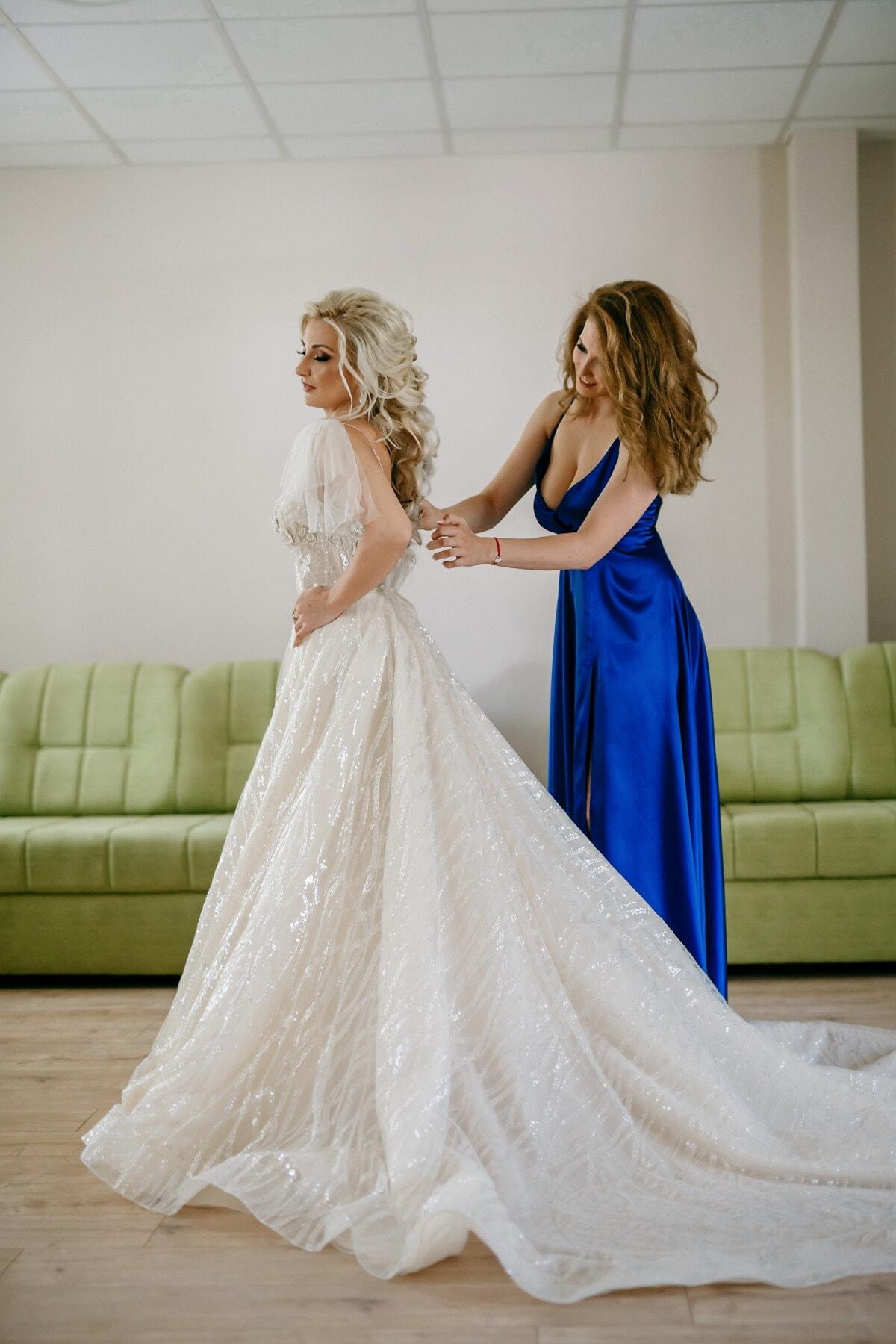 la mariée, robe de mariée, préparation, Jolie fille, petite amie, sourire, amicale, magnifique, robe, amitié